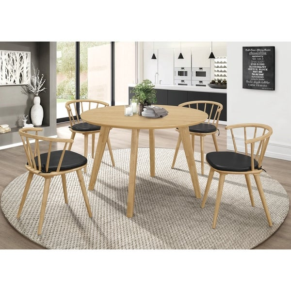 Yvette Black and Danish Natural 5-piece Dining Set