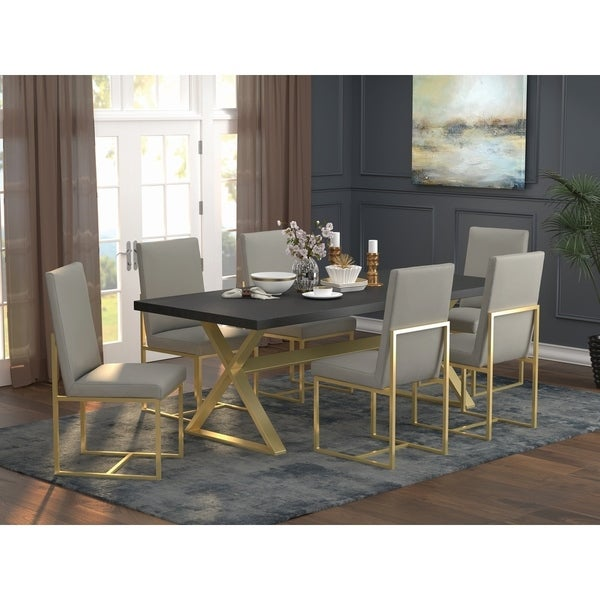 Cherice Dark Walnut and Aged Gold 5-piece Dining Set