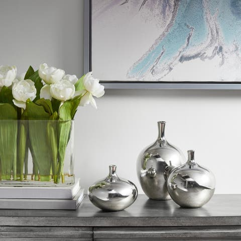 Madison Park Signature Ansen Metallic 3PC Vase Set