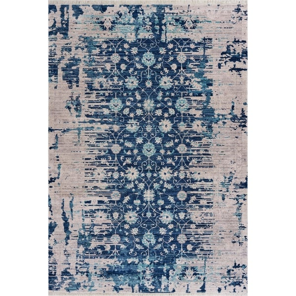 """Traditional Distressed Navy Floral Area Rug 9'10"""" x 13'0"""" - 9'10"""" x 13'0"""""""