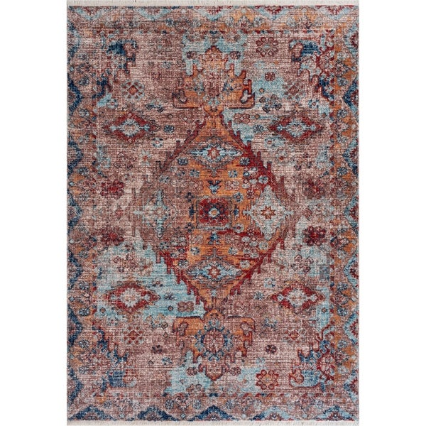 "Fanciful Multicolored Medallion Area Rug 5'3"" x 76"" - 5'3"" x 7'6"""