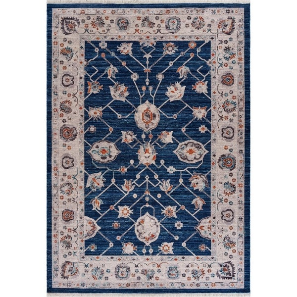 """Traditional Distressed Navy Floral Runner 2'2"""" x 7'7"""" - 2'2"""" x 7'7"""""""