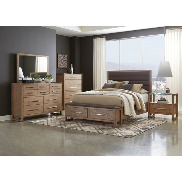 Parker Grey Oak 4-piece Upholstered Bedroom Set with 2 Nightstands
