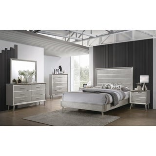 Stella Metallic Sterling 2-piece Panel Bedroom Set with Nightstand