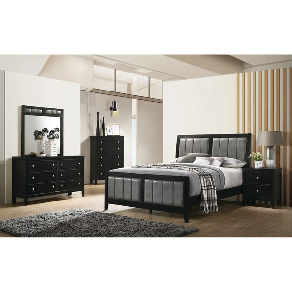 Armand Black 3-piece Panel Bedroom Set with 2 Nightstands