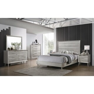 Stella Metallic Sterling 4-piece Panel Bedroom Set with 2 Nightstands