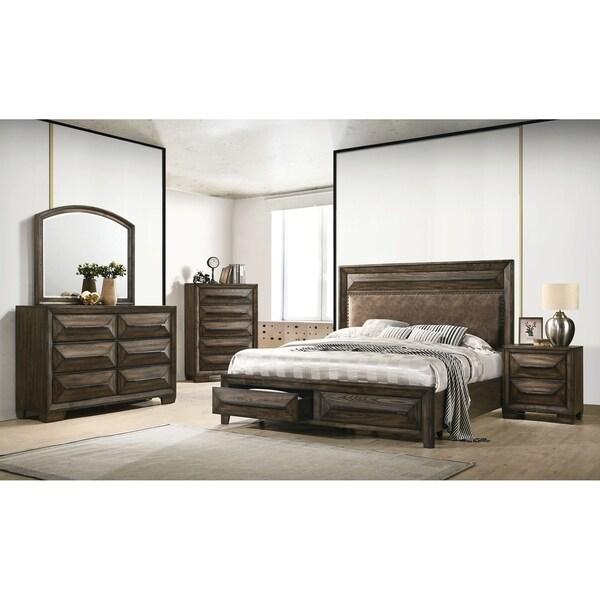 Seton Rustic Chestnut 3-piece Storage Bedroom Set with Dresser