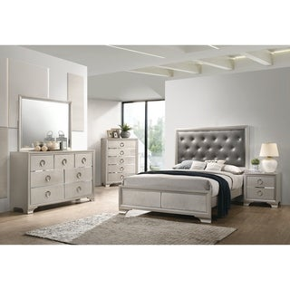 Valleria Metallic Sterling 2-piece Panel Bedroom Set with Nightstand