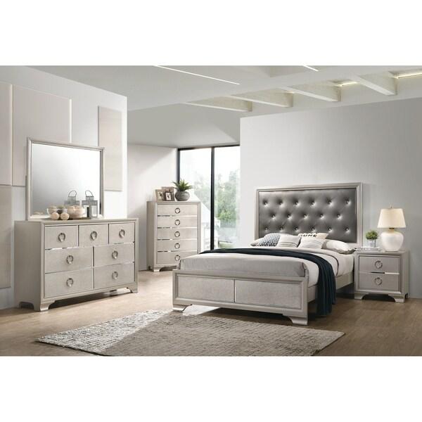 Valleria Metallic Sterling 2-piece Panel Bedroom Set with Nightstand