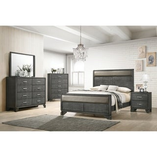 Baylee Caviar 3-piece Panel Bedroom Set with 2 Nightstands