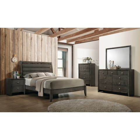 Teryn Mod Grey 2-piece Panel Bedroom Set with Dresser