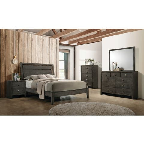 Teryn Mod Grey 5-piece Panel Bedroom Set with 2 Nightstands