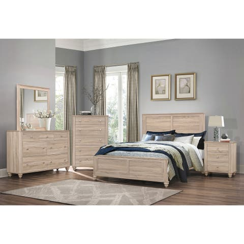 Parella Natural Oak 2-piece Panel Bedroom Set with Nightstand