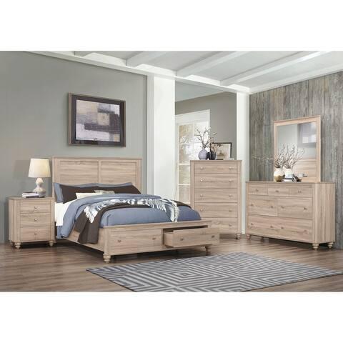 Parella Natural Oak 4-piece Storage Bedroom Set with 2 Nightstands
