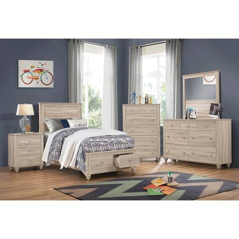 Parella Natural Oak 6-piece Storage Bedroom Set