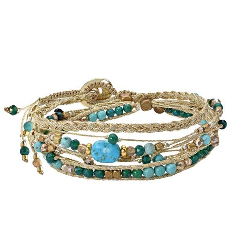 Handmade Beautifully Vibrant Round Dangle Charm Silk Wrap Bracelet (Thailand)