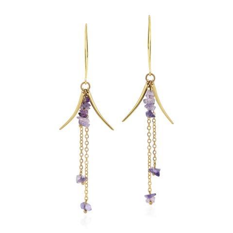 Handmade Striking Hanging Stones and Brass Chain Dangle Earrings (Thailand)