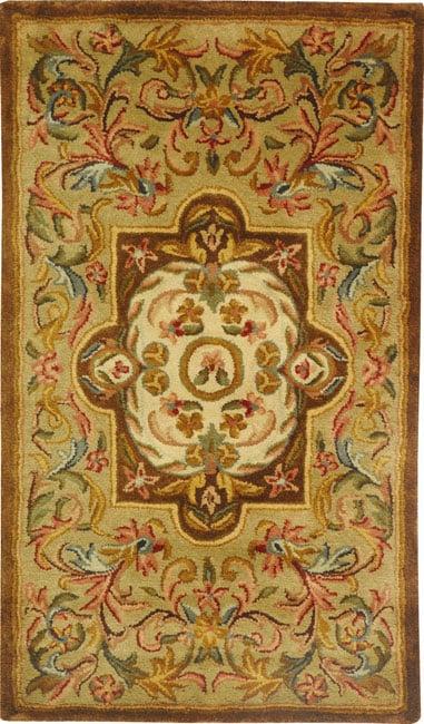Safavieh Handmade Classic Royal Beige/ Olive Wool Rug (2' x 3')