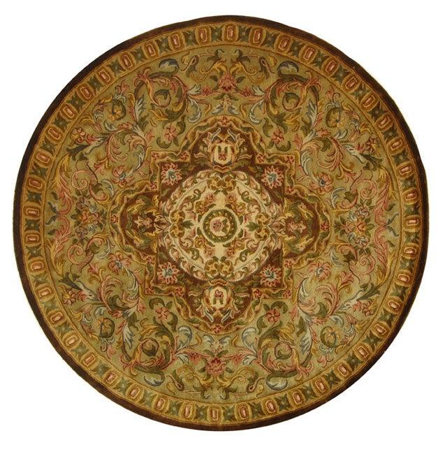 Safavieh Handmade Classic Royal Beige/ Olive Wool Rug (6' Round)