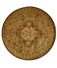 Safavieh Handmade Classic Royal Beige/ Olive Wool Rug - 6' x 6' Round