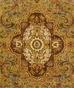 Safavieh Handmade Classic Royal Beige/ Olive Wool Rug (6' x 9')