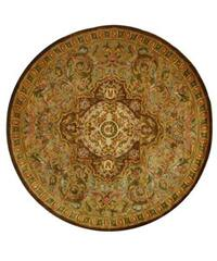 Safavieh Handmade Classic Royal Beige/ Olive Wool Rug (8' Round)