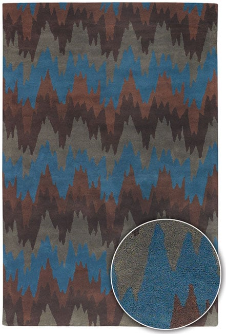 Artist's Loom Hand-tufted Contemporary Chevron Wool Rug - 8' x 11'
