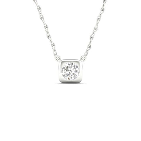 1/3ct TDW Diamond Solitaire Necklace in 10k Gold by De Couer