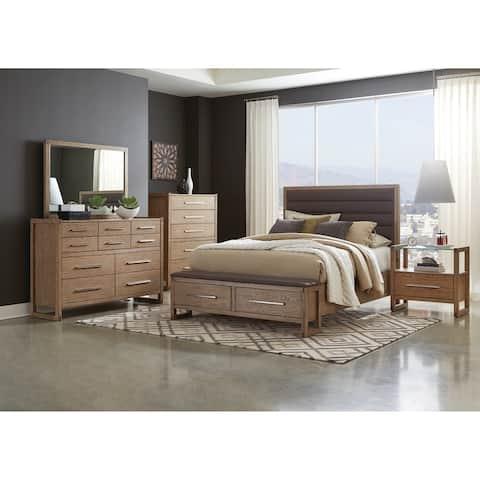 Parker Grey Oak 6-piece Storage Bedroom Set with Glass Top Nightstand
