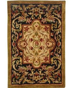 Safavieh Handmade Classic Royal Black/ Beige Wool Rug (2' x 3')