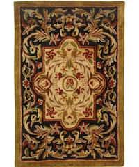 Safavieh Handmade Classic Royal Black/ Beige Wool Rug - 2' x 3'