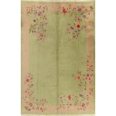"""Art Deco Vintage Hand Knotted Wool Transitional Chinese Area Rug - 11'10"""" x 8'10"""""""