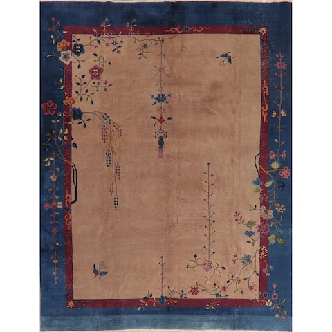 """Antique Art Deco Worn Oriental Hand Knotted Wool Chinese Area Rug - 11'6"""" x 9'1"""""""