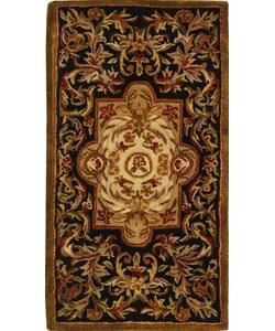 Safavieh Handmade Classic Royal Black/ Beige Wool Runner (2'3 x 4')