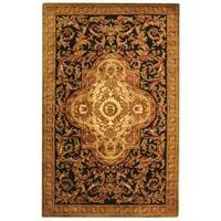 Safavieh Handmade Classic Royal Black/ Beige Wool Rug - 4' x 6'