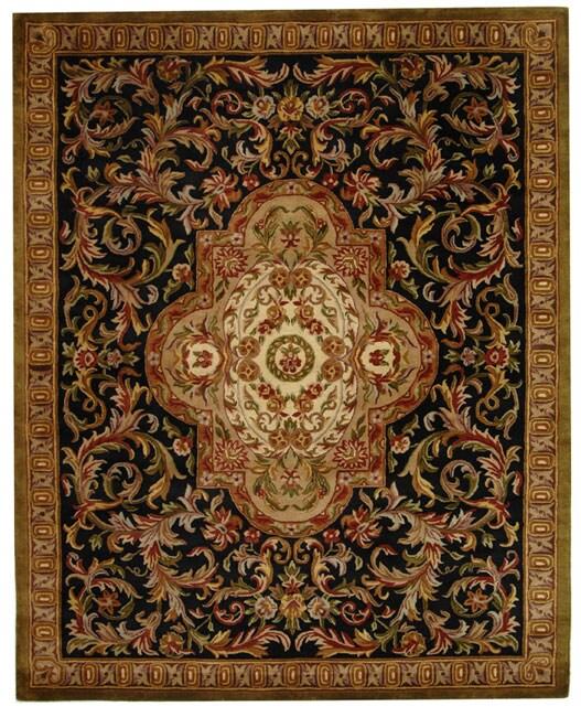 Safavieh Handmade Classic Royal Black/ Beige Wool Rug - 7'6 x 9'6