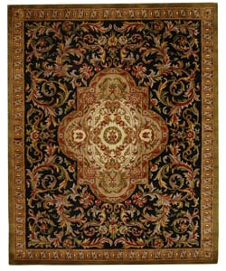 Safavieh Handmade Classic Royal Black/ Beige Wool Rug (7'6 x 9'6)