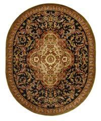 Safavieh Handmade Classic Royal Black/ Beige Wool Rug (7'6 x 9'6 Oval)