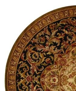 Safavieh Handmade Classic Royal Black/ Beige Wool Rug (8' Round) - Thumbnail 2