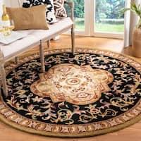 Safavieh Handmade Classic Royal Black/ Beige Wool Rug - 8' x 8' Round