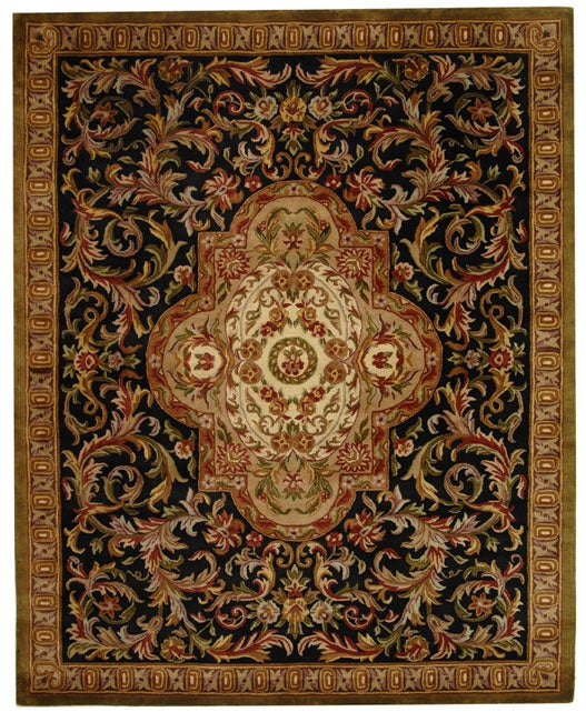 Safavieh Handmade Classic Royal Black/ Beige Wool Rug - 8'3 x 11'