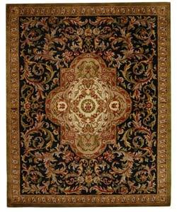 Safavieh Handmade Classic Royal Black/ Beige Wool Rug - 8'3 x 11' - Thumbnail 0