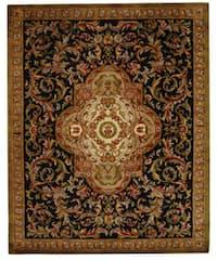 Safavieh Handmade Classic Royal Black/ Beige Wool Rug (8'3 x 11')