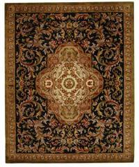 Safavieh Handmade Classic Royal Black/ Beige Wool Rug - 9'6 x 13'6