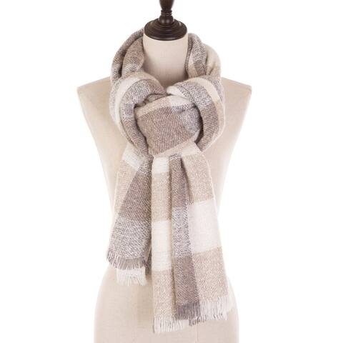 Glitzhome Gray, Beige and Cream Scarf with Fringes