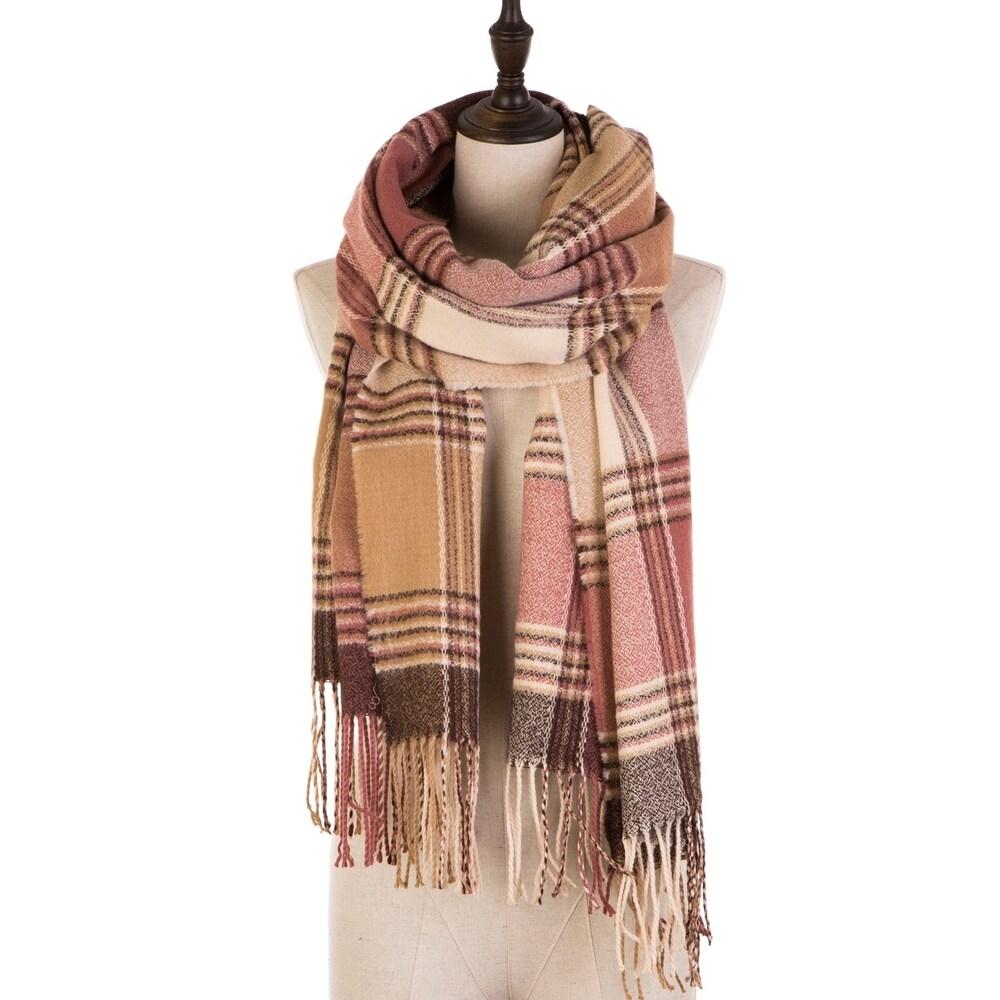 Toaimy Scraf Fashion Women Color Tassel Stitch Cashmere Wool Striped Tassel Shawl Soft Neck Scarf