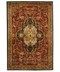 Safavieh Handmade Classic Royal Red/ Black Wool Rug (4' x 6')
