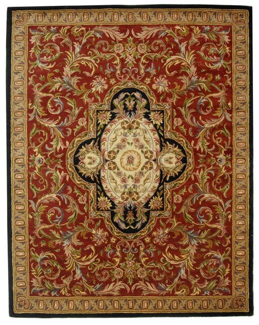 Safavieh Handmade Classic Royal Red/ Black Wool Rug - 7'6 x 9'6