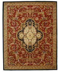 "Safavieh Handmade Classic Royal Red/ Black Wool Rug - 7'6"" x 9'6"""