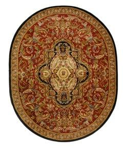 Safavieh Handmade Classic Royal Red/ Black Wool Rug (7'6 x 9'6 Oval)